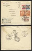 Colombia Carta De Bogotá A Nuremberg 1938 Via New York - Postcards