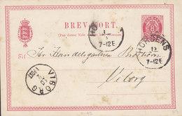 Denmark Postal Stationery Ganzsache Entier 8 Øre Wappen HORSENS 18?? To VIBORG (Arr. Cds.) (2 Scans) - Interi Postali