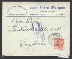 España Carta De Oviedo A Barcelona 1939 Marca Censura Oviedo - Cartes Postales