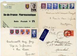 4 ENV SUPERBE DONT SURTAXE ( 503 533 894 931 ) MONTMIRAIL MARNE 1953  FM PARTIEL GRENOBLE 1937 SCANS INDIVIDUELS - Marcophilie (Lettres)