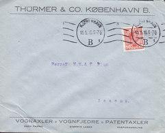 Denmark THÜRMER & Co., Vognaxler Vognfjedre Patentaxler KJØBENHAVN B. Tms. Cds. 1916 Cover Brief ASSENS (Arr.) - 1913-47 (Christian X)
