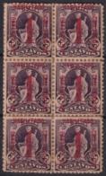 1902-127 CUBA REPUBLICA 1902 Ed.174 BLOCK 6 PAPEL SEPARADOR PEGADO AL REVERSO - Kuba