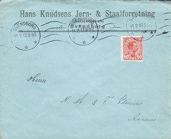 Denmark HANS KNUDSENS JERN- & STAALFORRETNING, SVENDBORG Tms. Cds. 1917 Cover Brief ASSENS (Arr.) - 1913-47 (Christian X)
