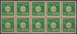 1937-342 CUBA REPUBLICA 1937 Ed.305 1c MNH ARGENTINA WRITTER & ARTIST. ESCRITORES Y ARTISTAS BLOCK 10. - Kuba