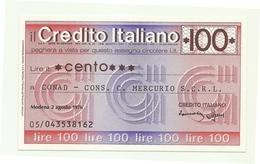 1976 - Italia - Credito Italiano - CONAD - Cons. C. Mercurio S.C.R.L. - [10] Assegni E Miniassegni
