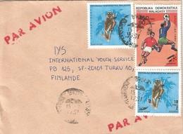 Madagascar 1991 Antananarivo Eastern Woolly Lemur Avahi Laniger Football Espana Cover - Apen