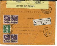 SBK 125 III, 4x128, Mi 113 III, 4x120a, R-Brief Mit Zensur Zürich 2 17.9.15 Nach Sierra Leone - Suisse