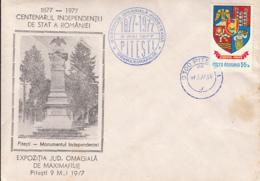 PITESTI- INDEPENDENCE MONUMENT, PHILATELIC EXHIBITION, SPECIAL COVER, 1977, ROMANIA - Cartas