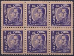 1937-346 CUBA REPUBLICA 1937 Ed.310 3c LM COLOMBIA WRITTER & ARTIST. ESCRITORES Y ARTISTAS BLOCK 6 - Kuba