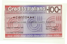 1976 - Italia - Credito Italiano - Associazione Commercianti Padova - [10] Scheck Und Mini-Scheck