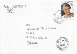 Madagascar 1985 Antananarivo President Indira Gandhi Cover - Beroemde Vrouwen