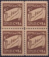 1937-349 CUBA REPUBLICA 1937 Ed.312 4c MNH CUBA WRITTER & ARTIST. ESCRITORES Y ARTISTAS BLOCK 4 - Kuba