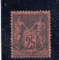 France - Sage, Type II - N°YT 97 - 25c Noir S.rose - Oblit CàD - 1876-1898 Sage (Tipo II)