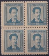 1937-351 CUBA REPUBLICA 1937 Ed.314 5c NG ECUADOR WRITTER & ARTIST. ESCRITORES Y ARTISTAS BLOCK 4. - Kuba