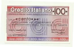 1976 - Italia - Credito Italiano - Associazione Dei Commercianti E Rappresentanti Della Provincia Di Taranto - [10] Scheck Und Mini-Scheck