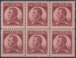 1937-353 CUBA REPUBLICA 1937 Ed.318 10c LM HONDURAS MORAZAN WRITTER & ARTIST. ESCRITORES Y ARTISTAS BLOCK 6. - Kuba
