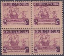 1937-354 CUBA REPUBLICA 1937 Ed.319 25c LM CARABELA SHIP COLON WRITTER & ARTIST. ESCRITORES Y ARTISTAS BLOCK 4. - Kuba