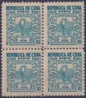 1937-357 CUBA REPUBLICA 1937 Ed.323 10c MNH PERU AIR MAIL WRITTER & ARTIST. ESCRITORES Y ARTISTAS BLOCK 4. - Kuba