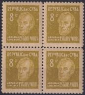 1937-359 CUBA REPUBLICA 1937 Ed.315 8c MNH ABRAHAM LINCOLN US WRITTER & ARTIST. ESCRITORES Y ARTISTAS BLOCK 4. - Kuba