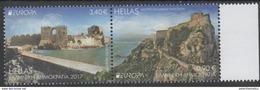 GREECE, 2017, MNH,EUROPA,  CASTLES, 2v - Europa-CEPT
