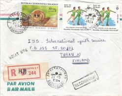 Madagascar 1984 Antananarivo Gray Mouse Lemur Microcebus Murinus Figure Skaring Registered Cover - Apen