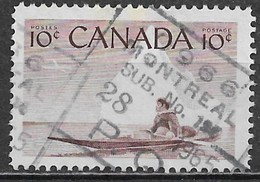 Canada 1955. Scott #351 (U) Eskimo And Kayak ** Complet Issue - 1952-.... Elizabeth II