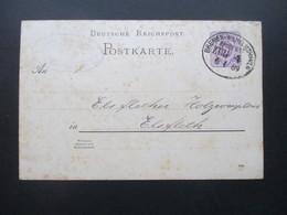 DR 1889 Ganzsache Oldenburg - Elsfleth Mit Bahnpost Stempel Bremen - Wilhelmshaven Zug 4 An: Elsflether Holzcomptoir - Allemagne