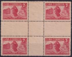 1951-340 CUBA REPUBLICA 1951 Ed.453CH 2c CLARA LOISA MAAS NURSE ENFERMERIA MEDICINE CENTER SHEET NO GUM. - Kuba