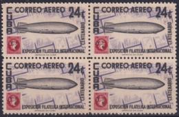 1955-306 CUBA REPUBLICA 1955 Ed.633 24c CUPEX GRAFF ZEPPELIN BLOCK 4 NO GUM. - Kuba