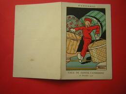 MENU 2 VOLETS FANTASIO  ILLUSTRION SIGNEE BENOUDIN ?? GALA DE SAINTE CATHERINE 25 NOVEMBRE 1926 - Menus