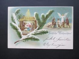 AK / Künstlerkarte 1905 Weihnachten / Christuskind Mit Maria U. Joseph Mit Engel Und Den Hirten. Krippe - Andere