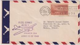 1948-FDC-140 CUBA REPUBLICA 1948 FDC 8c CORREO AEREO AVION AIRPLANE MAGENTA CANCEL. - Kuba
