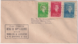 1949-FDC-150 CUBA REPUBLICA 1949 FDC RETIRO DE COMUNICACIONES BLACK CANCEL - Kuba