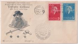 1950-FDC-108 CUBA REPUBLICA 1950 FDC ENRIQUE COLLAZO BLACK CANCEL PAIR INDEPENDENCE WAR. - Kuba