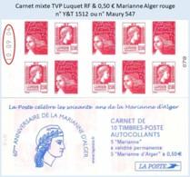 FRANCE - Carnet Mixte Date 10.09.04 - TVP Luquet RF 0,50 € Marianne Alger Rouge - YT 1512 / Maury 547 - Libretas