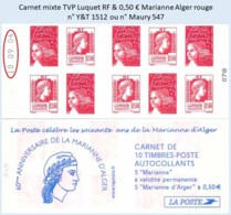 FRANCE - Carnet Mixte Date 10.09.04 - TVP Luquet RF 0,50 € Marianne Alger Rouge - YT 1512 / Maury 547 - Carnets