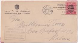 1950-FDC-109 CUBA REPUBLICA 1950 FDC BANCO NACIONAL TOBACCO SURCHARGE BLACK CANCEL - Kuba