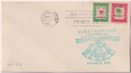1951-FDC-171 CUBA REPUBLICA 1951 FDC NAVIDADES CHRISTMAS FLOR DE PLASCUA CAMPANAS BELL GREEN CANCEL. - FDC