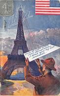¤¤   -  PARIS   -  Tour EIFFEL  -  Américain à Paris  -  Souvenir  -  Guerre 1914-18    -  ¤¤ - Arrondissement: 07
