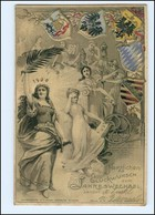 XX007506/ Neujahr Jahreswechsel Germania Wappen Litho Prägedruck AK 1899 - Nieuwjaar