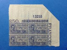 1926 REGNO FRANCOBOLLI NUOVI STAMPS NEW MNH** QUARTINA ESPRESSO 1,25 LIRE NUMERO DI TAVOLA - 1900-44 Victor Emmanuel III.