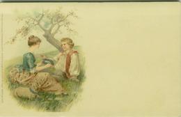 MEISSNER & BUCK ART NOUVEAU POSTCARD 1900s - COUPLE & FLOWERS - SERIE 104/4 ( BG703) - Otros Ilustradores