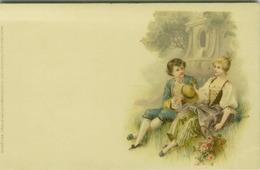 MEISSNER & BUCK ART NOUVEAU POSTCARD 1900s - COUPLE & FLOWERS - SERIE.104/4 ( BG704) - Otros Ilustradores