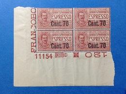 1924 1925 REGNO FRANCOBOLLI NUOVI STAMPS NEW MNH** QUARTINA ESPRESSO SOPRASTAMPATO 70 SU 60 CENT NUMERO DI TAVOLA - 1900-44 Victor Emmanuel III.