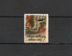Deutsches Reich Scandinavian Legion Nazi Swastika Poster Cinderella Vignette Revenue Postfrisch - Erinnofilia