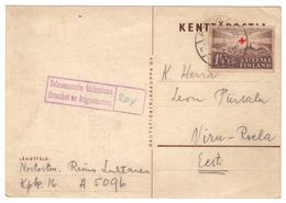 Kenttäpostia,Fieldpost,Censor,PC Sent To Estonia 1940,2 Scans - Lettres & Documents