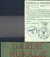 Tarcienne. Rare Brassard Et Carte De La Garde Rurale (Boerenwacht) Pendant La 2e Guerre - Escudos En Tela