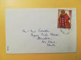 1972 BUSTA GRAN BRETAGNA GREAT BRITAIN BOLLO NATALE CHRISTMAS ANNULLO SAFFRON OBLITERE' - 1952-.... (Elisabetta II)