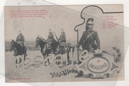 MILITARIA - CP ANIMEE 2e DRAGONS - CAVALERIE - PHOTOTYPIE A. BERGERET & Cie NANCY - CIRCULEE EN 1905 - Uniformi