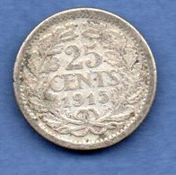 Pays - Bas   -  25 Cents 1915   -  Km # 146  -  état  TB - 25 Cent